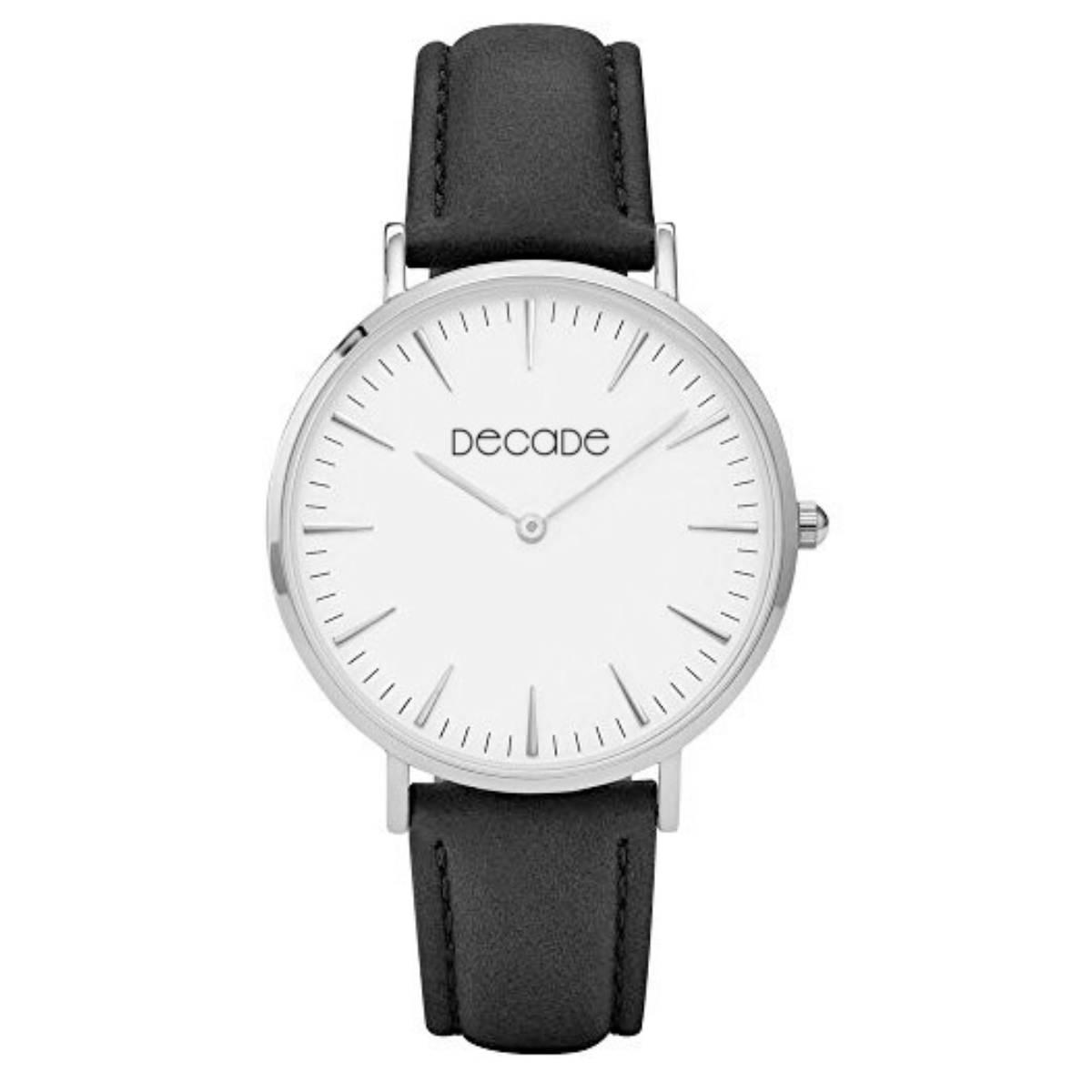 DECADE Armbanduhr D101 Quarz Leder schwarz