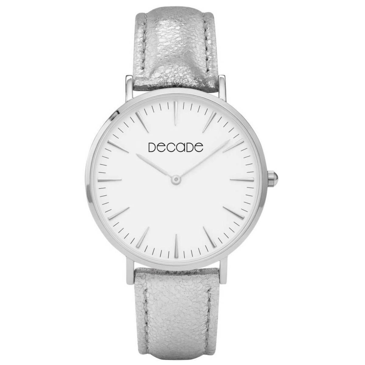 DECADE Armbanduhr D101 Quarz Leder silber